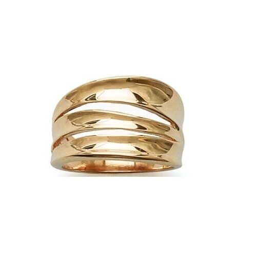 Woman Ring SCRATCHED openwork new plated gold Size 60