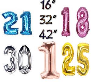 40 inch 16//18//21//30//50//60//70//90th Happy Birthday Ballon Decor Number Balloons UK