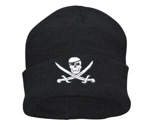 McAllister-PIRATE-Skull-Jolly-Roger-Totenkopf-Beanie-Watch-Hat-Cap-Muetze-Piraten