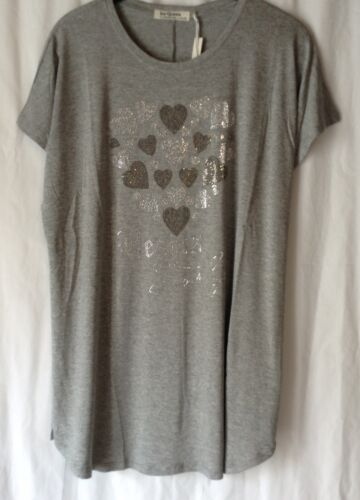 NEW LADIES DIAMANTE HEARTS DETAIL JERSEY LONG TOP TUNIC *3 COLOURS* SUMMER