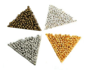 SILVER-PLATED-Bronze-Gold-Metal-Round-Ball-SPACER-BEADS-2-4mm-3-2mm-4mm-6mm-8mm