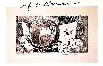 ROY LICHTENSTEIN HAND SIGNED SIGNATURE * TEN DOLLAR BILL ...