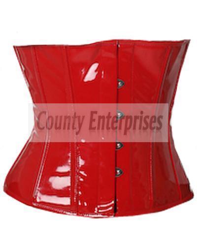 Waspie Cincher Shaper Taillen Fetish Steel Boned Waistbust Red PVC Vinyl Corset