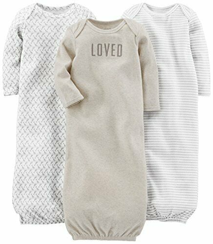 Simple Joys by Carter/'s Baby 3-Pack Cotton Sleeper Gown 0-3 Months Grey//White