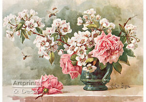 Roses-amp-Cherry-Blossoms-by-Paul-de-Longpre-Art-Print-of-Vintage-Art