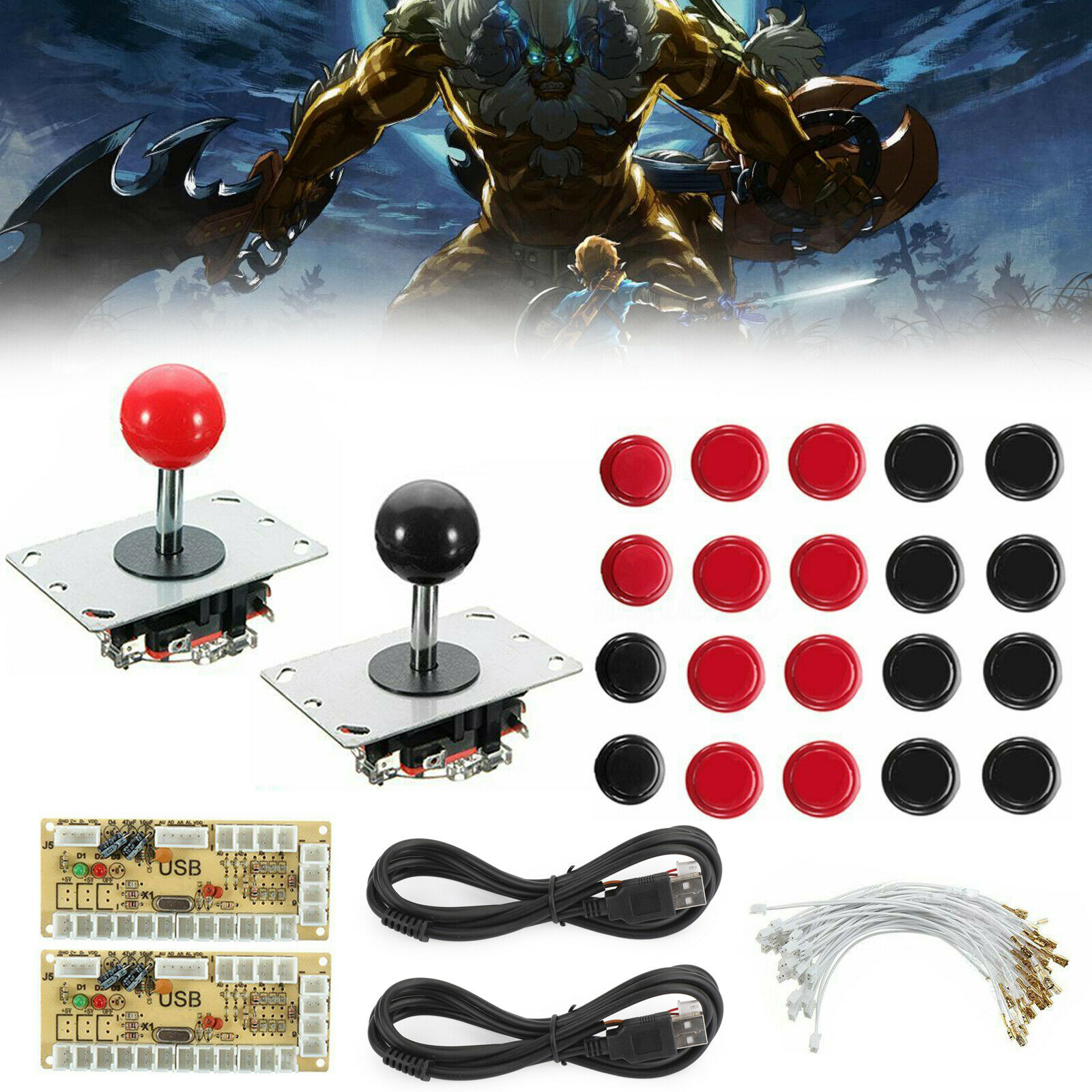 DIY Joystick Arcade Game USB Encoder+Joystick+ Buttons+Cables B2