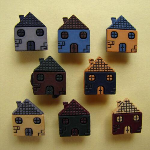 Häuser Knöpfe Haus Häuschen Patchwork Scrap Bastel