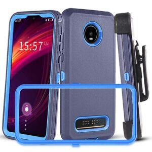 For Motorola Moto Z4/Z4 Play Shockproof Case Belt Clip Fits Otterbox Defender