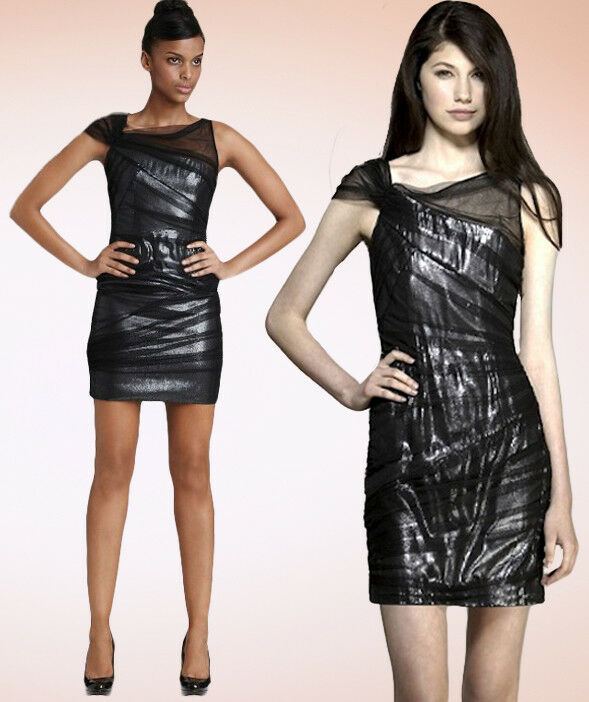 Cynthia Steffe Shyla Ruched Sequin Tulle Overlay Sheath Dress 4