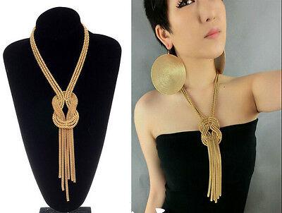 Celebrity Chunky Gold Tassel Snake Chain Choker Statement Bib Pendant Necklace