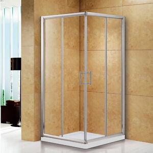 Walk-In-Corner-Entry-Sliding-Shower-Enclosure-Cubicle-Chrome-Stone-Tray-Waste