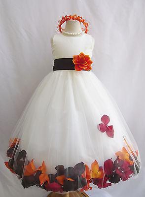 Customize infant toddler teen ivory rose petal wedding party flower girl dress