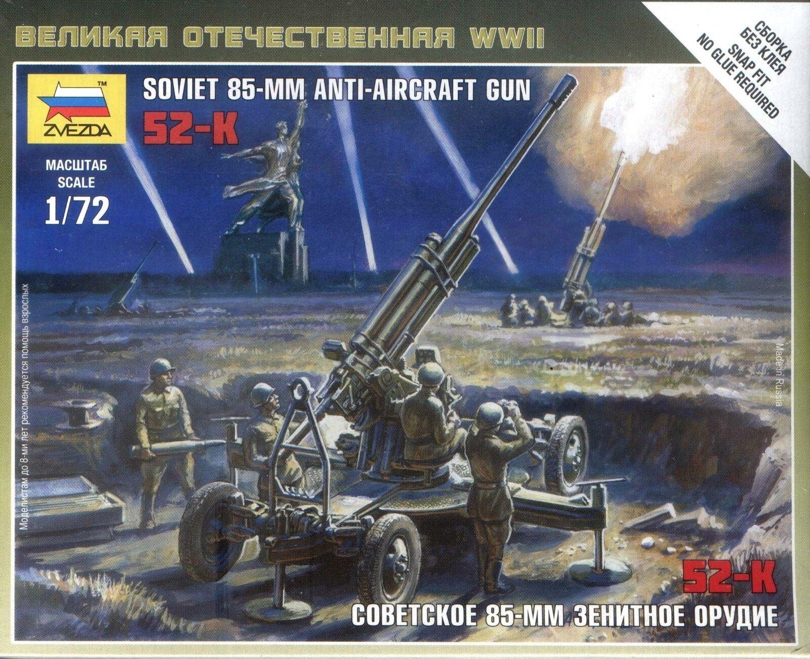 Zvezda models WWII Soviet 85mM anti Aircraft Gun 25mm 1//72 scale