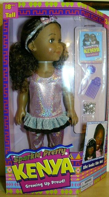 Sparkle  Shine Kenya Doll Growing Pretty Proud  Magic Hair Curly to Straight.