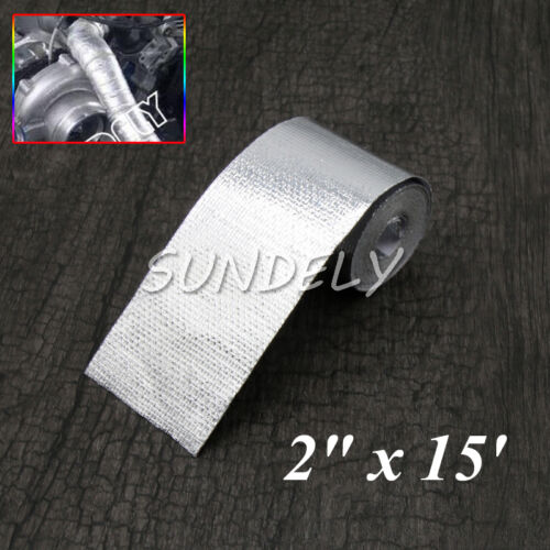 """2/"""" x 15FT Adhesive Backed Heat Shield Wrap Tape For Car Intake Intercooler Pipe"""