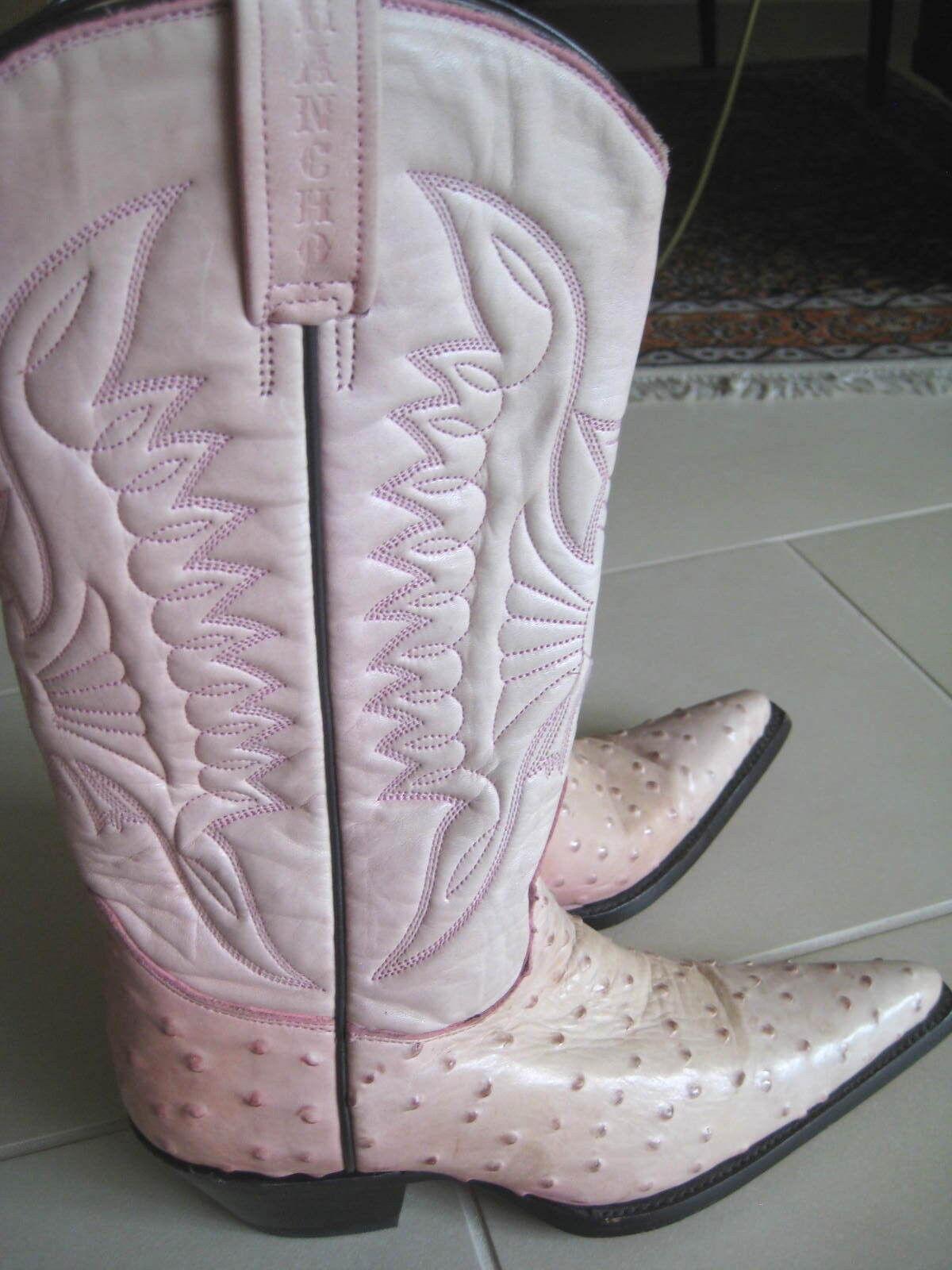 RANCHO Comfort Fine Line Westernstiefel / Stiefel Strauss rosa  Damen Gr. 37  NEU