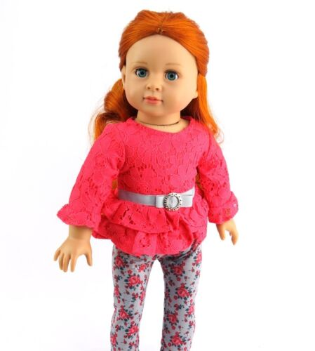 Coral Floral Pant Set Fits 18 American Girl Doll Clothes