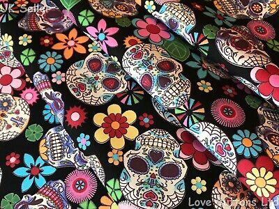 ROSE /& HUBBLE YELLOW SUGAR SKULL Dia de Muertos FABRIC 100/% COTTON HALF METRES
