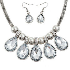 Large pear charm pendant silver colour choker necklace and earring jewellery set