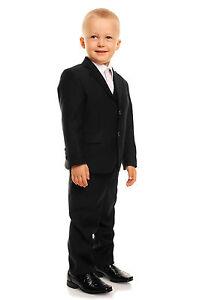 Noir 5 Pièces Garçon pour Costume de Mariage Garçons D Honneur Bal ... 9bfb968803c