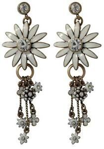 NEW-PILGRIM-GOLD-EARRINGS-WHITE-ENAMEL-DAISY-FLOWERS-CRYSTALS-AB-DROP-DANGLE-RR