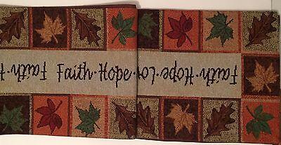 Faithful Autumn Faith Hope Love Fall Leaves Tapestry Table Runner 13x72