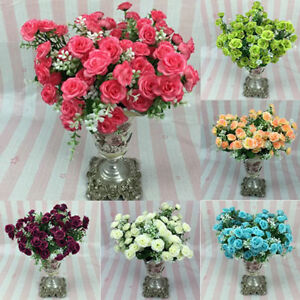 Am-NEW-1-BOUQUET-15-HEADS-ARTIFICIAL-FAKE-ROSE-SILK-FLOWER-PARTY-WEDDING-HOME-D