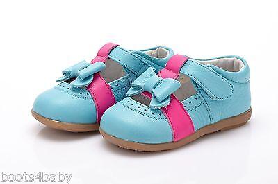 Baby Girl's Infant Toddler Turquesa Con Rosa Caliente Detalle Zapatos De Cuero Real