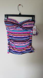 Anne Cole Women's Twist Front Bandeau Tankini Swim Top Retro Braided Stripe, XS