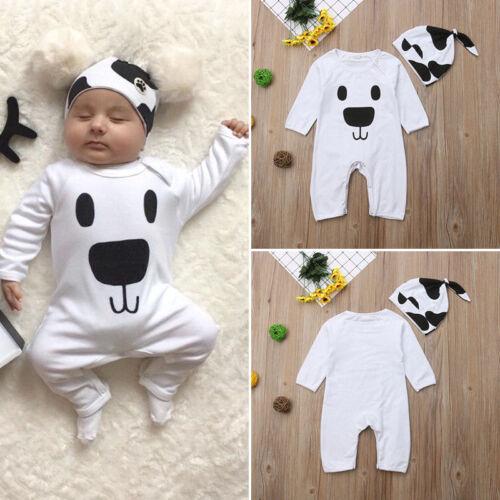 Newborn Infant Baby Girl Boy Cartoon Romper Jumpsuit Hat Cute Clothes Outfit Set