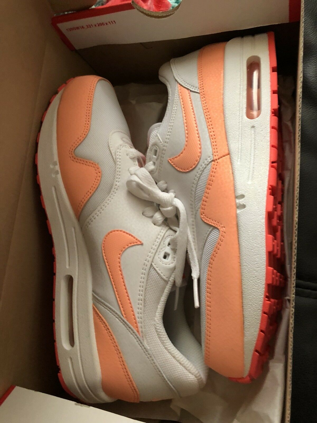 RARE Size 9 Nike Women Air Max 1 White Sunset Glow-Hot Lava Sneakers In Box