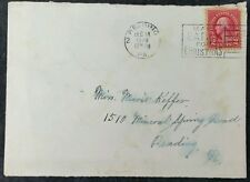 US 1928 Reading PMK to Mineral Springs Rd, Reading PA, Mail Early for Christmas