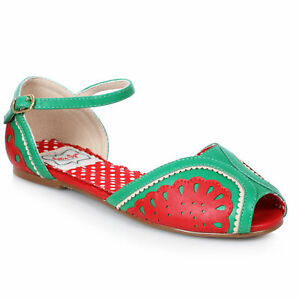 Bettie Page BP100-FRUITIE Red Flat Fruit Sandals