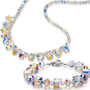 Vintage-Retro-40-039-s-Aurora-Borealis-Crystal-Rhinestone-Strand-Necklace-Jewelry