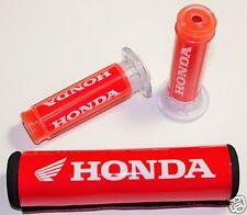 Honda Motorcycle Bike Racing 7/8'' Handlebar Grips And Cross Bar Pad Set. USA!!