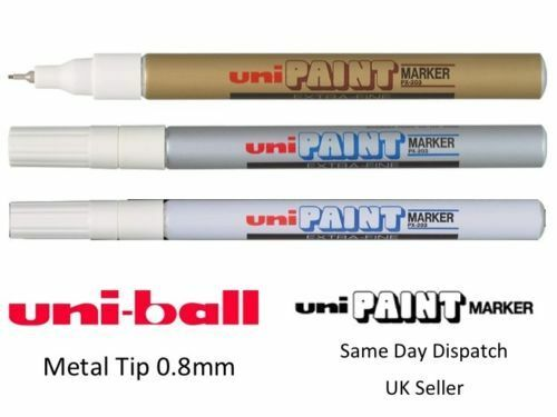 WHITE GOLD SILVER PACK OF 3 UNI-BALL UNI PAINT EXTRA-FINE PX-203 PX203 MARKER