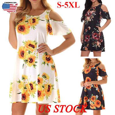 Plus Size Womens Loose Sunflower Casual Midi Dresses Off-the-shoulder  Sundress | eBay
