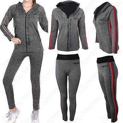 ZuverläSsig Ladies Hoody Zip Top Stripe Leggings 2-pc Suit Women Tracksuit Workout Sport Set Krankheiten Zu Verhindern Und Zu Heilen