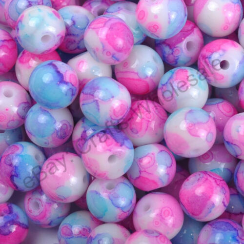 Wholesale Mixed MOTTLE Glass Marble Effect Round BEADS Choose 4MM 6MM /& 8MM