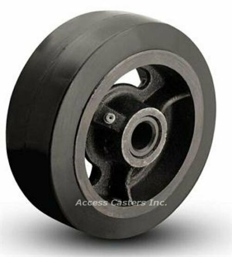 """Roller Bearing 4PRC42 4/"""" X 2/"""" Mold on Rubber on Cast Iron Wheel 350 lb Capacity"""