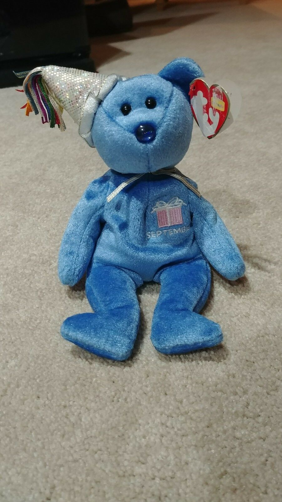 Ty Beanie Baby September -(Bear w  hat 2002) Birthday
