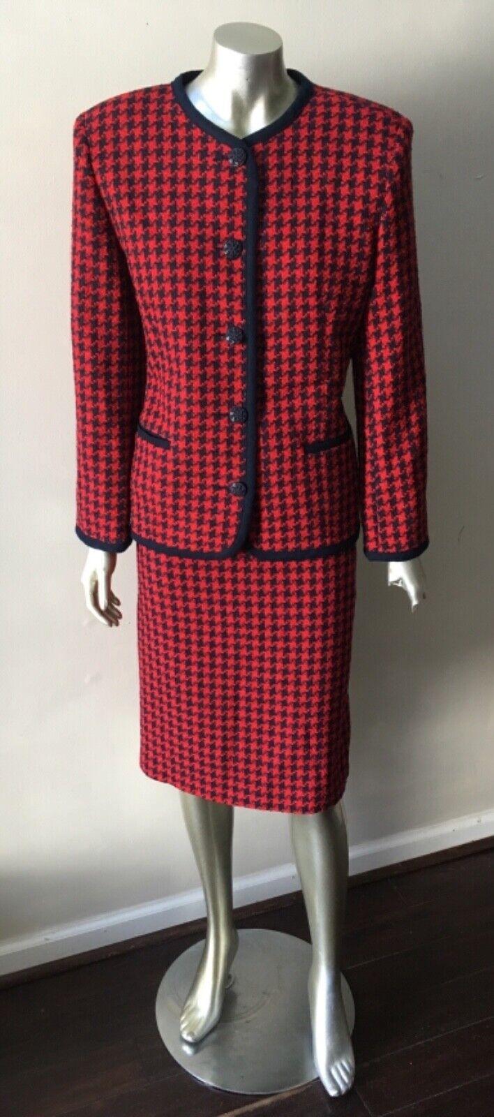 Houndstooth Wool Vintage 90s Retro 2 piece Red bluee Career Work Skirt Suit 14