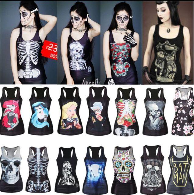 Women Sleeveless Vest Tank Tops Blouse Gothic Punk T-Shirt Disney Princess Print