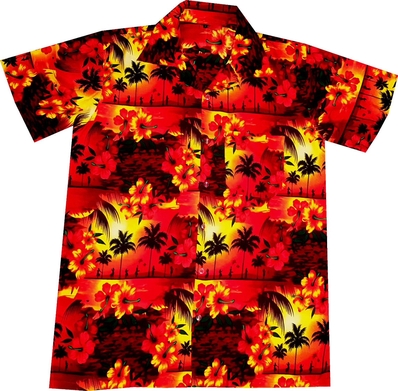 Hawaiian Shirt  Sunset Girls    size S - 6XL   Mens Hawaian Shirts   Hawaii red