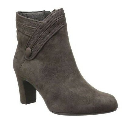 NIB Clarks Tamryn Dark Grey/ Taupe Brown Ancle Boots Bootie $150 Sz. 8