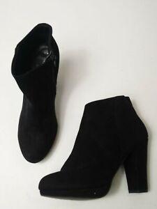 WOMEN-039-S-NEWLOOK-BLACK-SUEDETTE-SIDE-ZIP-HEELED-ANKLE-BOOTS-UK-6