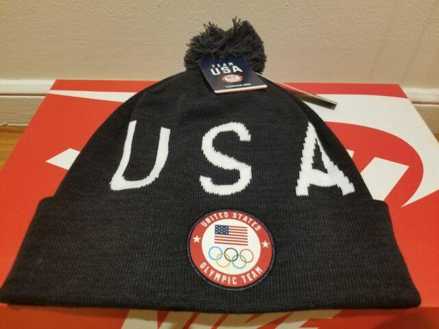 283c5d62297f6 Nike Winter Pyeongchang Olympics Red White Blue USA Pom Beanie Snowboarding
