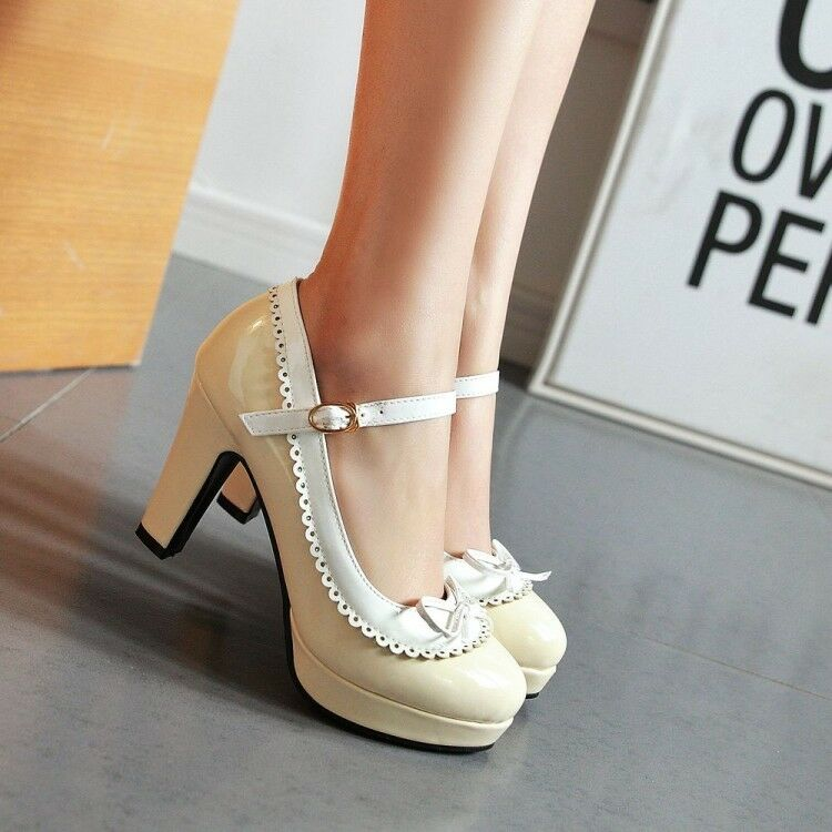 Womens Round Toe Mary Jane shoes Ankle Strap High Heel Platform Sandals Big Pump