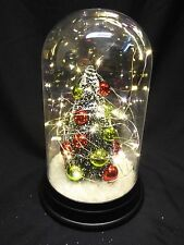 SALE 23cm Dome Jar Christmas Ornament With Xmas Tree & Lights-Battery Operated