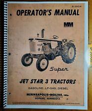 Minneapolis Moline Jet Star 3 Gasoline Diesel Lp Tractor Owner Operators Manual